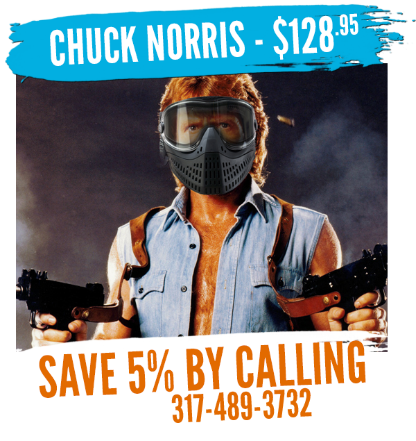 the chuck norris rental package at White River Paintball